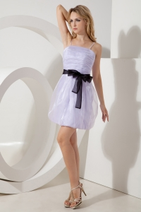 Lilac Straps Homecoming Dress Mini-length Sash Graduation