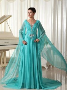 Long Sleeves Maxi/Celebrity Dress Turquoise Chiffon Appliques