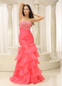 Mermaid Sweetheart Beaded Ruched Layers Prom Pageant Dress