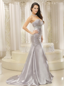 Pageant Evening Dress Satin Ruched Beaded Silver Mermaid