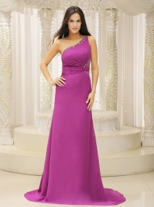 Fuchsia One Shoulder Beaded Waist Prom Pageant Dress
