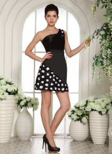 One Shoulder Little Black/Cocktail Dress Hand Made Flowers Mini
