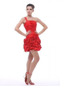 One Shoulder Beading Ruch Mini-length Red Nightclub/Cocktail Dress