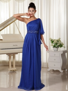 One Shoulder Half Sleeve Prom/Maxi Dress Beaded Royal Blue