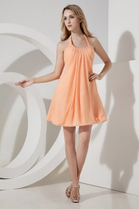 Ruched Prom Graduation Dress Halter Mini-length Chiffon Orange
