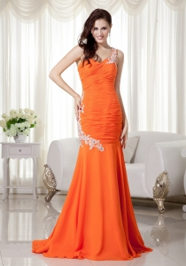 Orange Mermaid One Shoulder Chiffon Pageant Evening Dress