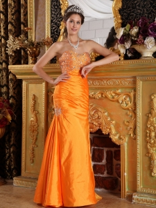 Orange Prom Pageant Dress Mermaid Sweetheart Beading