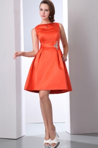 Orange Red Graduation Cocktail Dress Bateau Taffeta