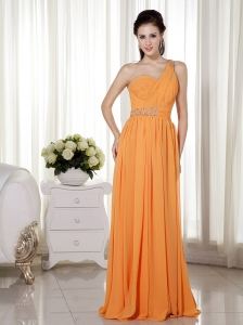 Orange Evening DressesOne Shoulder Floor-length Chiffon Beading