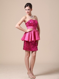 Paillette Over Skirt Nightclub/Graduation Dress Strapless
