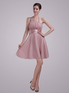 Pink Halter Mini-length Chiffon Ruch Prom Graduation Dress