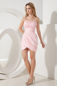 Pink Column Straps Taffeta Ruch Homecoming Dress