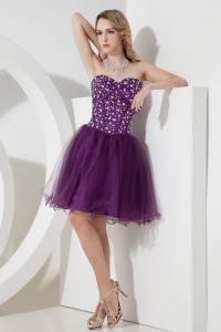 Knee-length Sweetheart Prom Homecoming Dress Purple Beading