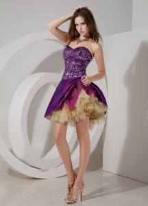 Purple Nightclub/Cocktail Dress Taffeta and Sequin Tulle