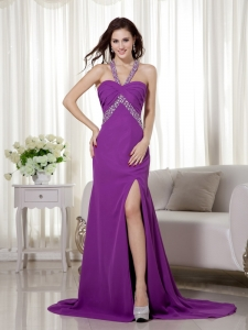 Purple Halter Pageant Evening Dress Brush Train Beads Ruches