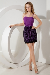 Purple Prom Homecoming Dress Column Straps Lace Ruch