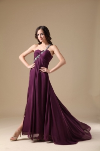 Purple Pageant Dress One Shoulder Chiffon Beading