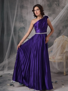 Purple One Shoulder Elastic Woven Satin Beading Prom Dress