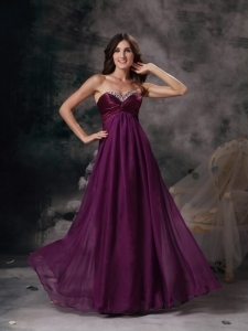Dark Purple Prom Maxi Dress Sweetheart Chiffon Beading Empire