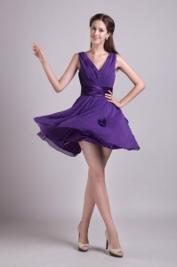 Purple V-neck Mini-length Chiffon Prom Graduation Dress