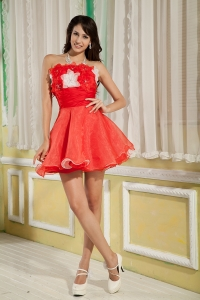 Red Strapless Mini-length Organza Prom Graduation Dress