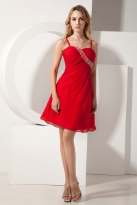 Red Spaghetti Straps Beading Chiffon Homecoming Dress