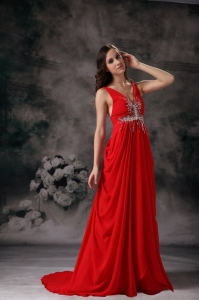 Red Column V-neck Chiffon Beading Maxi/Evening Dresses