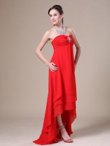 Red Ruched Decorate Bust Maxi Pageant Dresses Beaded