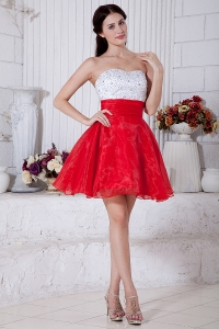 Red White Graduation Homecoming Dress Strapless