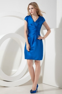 Royal Blue Prom Homecoming Dress V-neck Satin Ruch Mini-length