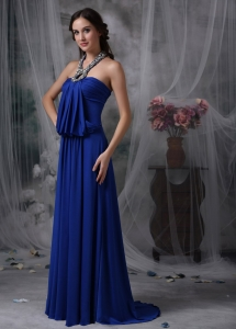 Royal Blue Maxi/Pageant Dresses Halter Chiffon Beading
