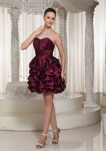 Short Burgundy Nightclub/Cocktail Dress Strapless Pich-ups