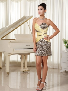 Leopard Sweetheart Mini-length Nightclub/Cocktail Dress