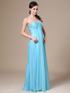 Chiffon Beading Maxi/Pageant Dresses Sweetheart Aqua Blue