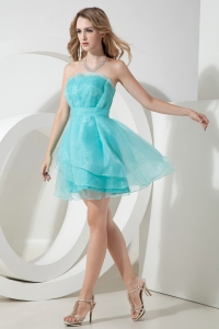 Organza Graduation Homecoming Dress Aqua Blue Mini-length