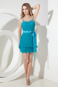 Teal Spaghetti Straps Prom Homecoming Dress Mini-length