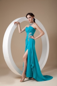 Teal Column Pageant Celebrity Dress Sweetheart Ruch