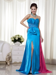Beading Pageant Evening Dress Teal and Hot Pink Sweetheart
