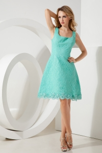 Turquoise A-line Princess Square Prom Homecoming Dress