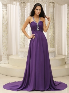 V-neck Beaded Shoulder Ruched Bodice Prom Pageant Dress
