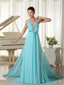 V-neck Maxi/Evening Dress Aqua Blue Hand Made Flower