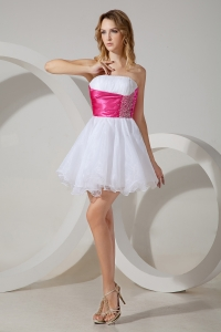 White Princess Strapless Organza Prom Homecoming Dress