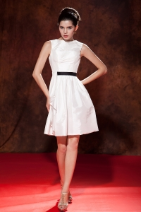 White Bateau Mini-length Taffeta Prom Graduation Dress
