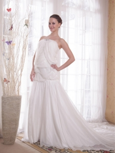 White Strapless Chapel Train Rhinestones Chiffon Dresses