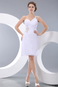 White One Shoulder Prom Homecoming Dress Mini-length