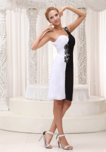 White and Black Little Black Dress One Shoulder Beading Chiffon