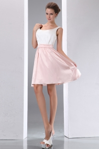 White and Pink Prom Graduation Dress Scoop Mini-length Taffeta