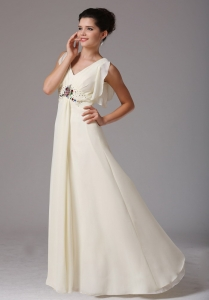 Wholesale Light Yellow Empire V-neck Maxi/Pageant Dresses