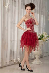 Wine Red Prom Homecoming Dress Mini-length Orange Beads