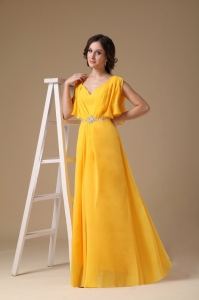 Yellow Maxi/Evening Dresses Empire V-neck Chiffon Beading